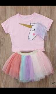 Baby girl unicorn top tutu skirt set infant toddler kid