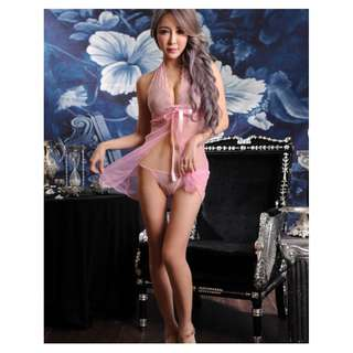 *Wholesales READY STOCKS 批发价现货* Brand New PINK 2-pcs Lingerie Set, Chemise, Dress, Sleepwear, Nighties, halter neck (By post only) Body Suit, Lace, Free Size 性感情趣内衣 S-L (East)