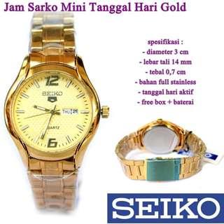jam tangan SEKO Sarko Mini Tanggal Hari combi gold