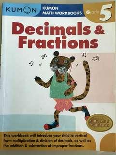 Kumon book- Decimals and fractions grade 5