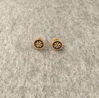 Tory Burch Earrings Black/Gold 黑色金邊圓形耳環