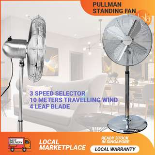 "✔FREE DELIVERY: PULLMAN 16"" Electric Metal Oscillating Extendable Standing 3 Speed Pedestal Fan Chrome als16ga"