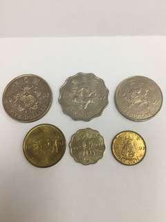 1997年 香港硬幣 回歸紀念硬幣 5元 2元 1元 5毫 2毫 1毫