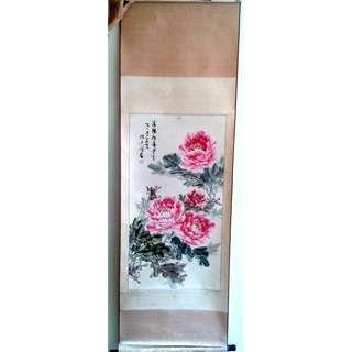 陈素芳 Chinese Painting 洛阳牡丹 (including frame: 62 x 190cm)