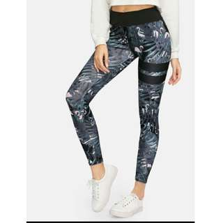 floral black sleek leggings