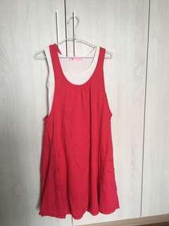 🚚 二手孕婦哺乳紅色背心裙(不含白色內搭)(6.70kg以上也可以穿)