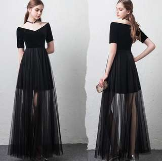 (Free Size) Prom/Party/Event/Function Black Maxi Dress