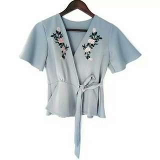 Kimono Embroyed Soft blue