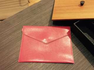 Elegant Pink Handmade Faux Leather Clutch / iPad Holder