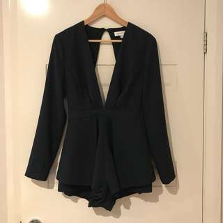 Navy Low Cut/Backless Playsuit