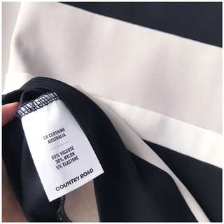 Country Road brand new striped black white taupe midi pencil skirt suitable for office formal work dress