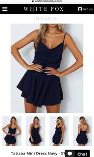 Navy Cowl Neck Dress