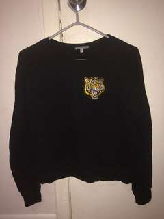 Tiger embroidered patch sweatshirt