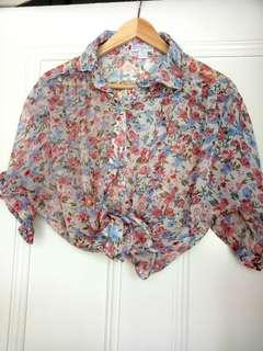 Sheer floral blouse