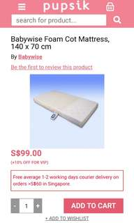 Like New Foam Cot Mattress 70x140cm