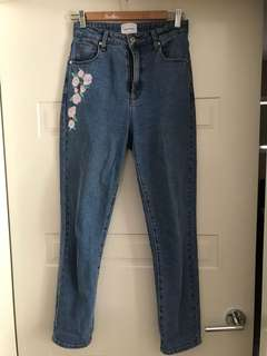 Blue Jeans with Floral