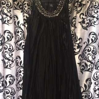 Short black silk dress