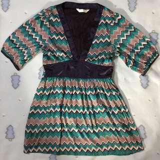 🚚 🈵賣場600免運日本Cheena極新黑色綠色紅銅色相間深V領短袖長版罩衫上衣(內有襯裡)