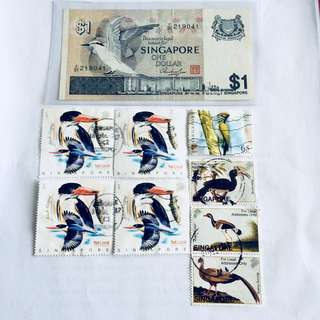 Bird note & Stamps
