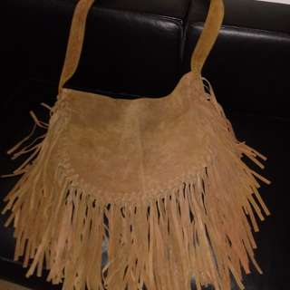 Vintage suede genuine leather sling bag