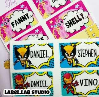 Customise name sticker