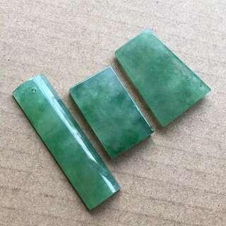 天然A貨帶色玉牌3件