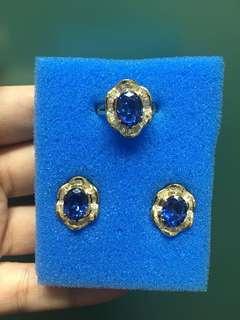 Set blue sapphire ligid baguettes