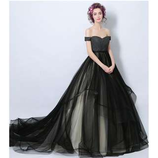 Gown Collection - Black Noble Ladies Off Shoulder Tube Style Ponytail Gown