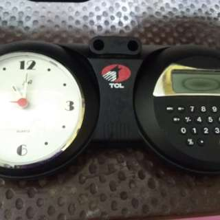 Clock calculator pen holder in one