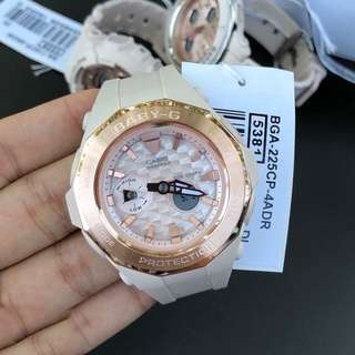 Authentic Brand New Casio Baby G BGA-225CP-4A Rose Gold Ladies Watch BGA-225CP BGA225CP BGA-225CP-4 BGA225CP-4A BGA225-4
