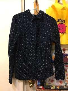 藍底白點襯衫(近全新)