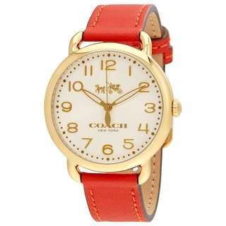 100%全新正貨 Coach Delancey 蒂蘭希系列女裝手錶白色錶面 橙紅色錶帶