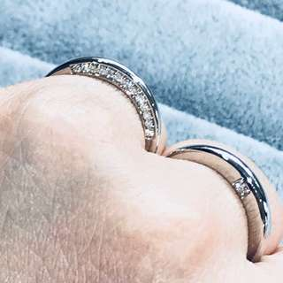 18K white gold side profile diamond wedding bands, couple rings, anniversary ring. WB007