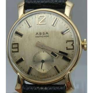 France ABSA 18K GOLD 男裝 上練 防震小三針 皮帶錶
