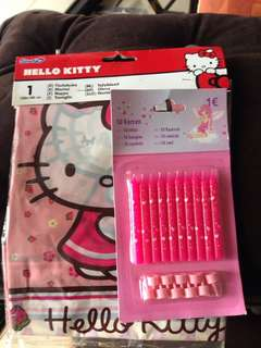 Hello kitty party table cloth with birthday candles