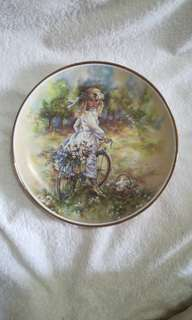 "Vintage The Leonardo Collection Decorative Plate ""Bicycle Ride"" by Christine Haworth"