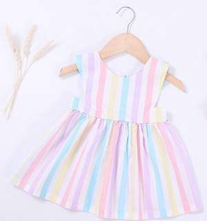 Cute Sleeveless Rainbow Stripe Dress