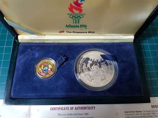1996 Atlanta Singapore (centennial olympic games) Gold/Silver set Medallion