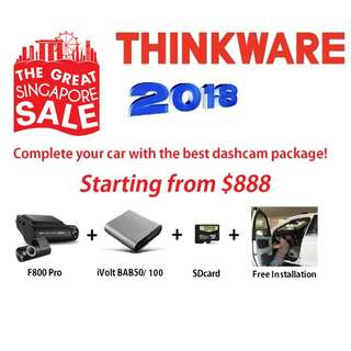 [Authorised Dealer] GSS 2018 All-in Package THINKWARE F800 Pro 2ch Wifi + Batterypack + Free Installation FHD Korean No.1 Dashcam Car Cam Camera Blackbox DVR