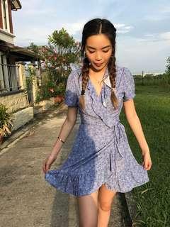 Floral Blue Ruffles Dress