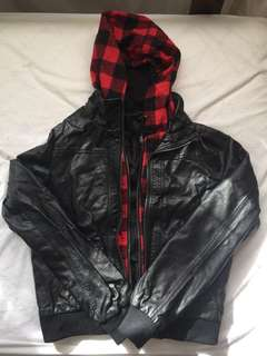Leather and plaid jacket