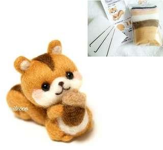 可愛小松鼠羊毛毡公仔diy手工製作材料包
