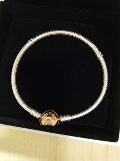 Pandora moments silver bracelet with rose gold pure heart