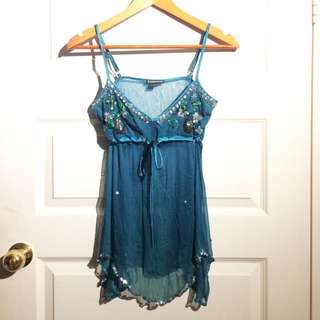 Festival Doof Sheer Turquoise Slip Tie Top With Beading Details