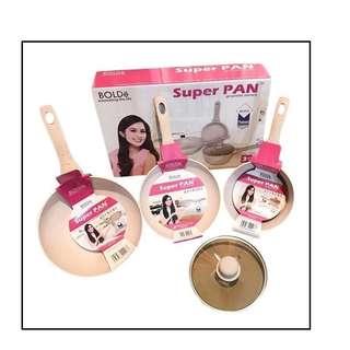 Panci Bolde Super Pan Beigi 3 Pcs Anti Lengket Tampa Minyak Original