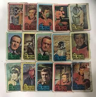 15pcs Vintage Six Million Dollar Man Cards