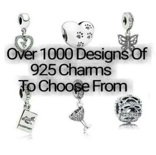 Over 1000 Designs (925 Sterling Silver Charms) To Choose From, Compatible With Pandora, T23