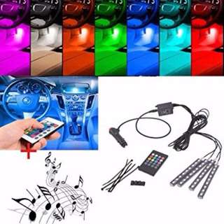 ★★ 4 Strips with 9 X 5050 SMD RGB LED Car Interior Floor Decorative Atmosphere LED Light Strip + IR + Sound (Music) Remote Control (Color: Multicolour) ★★ Easy Installation – Plug and Play ★★