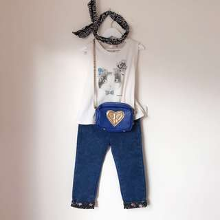 Girls swing top + floral cuff jeans size 4