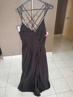 Sexy back deep V black dress